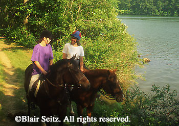 PA landscapes Mother and Daughter Horseback Riding, PA Wilderness, York Co., PA, Trails and Park Lake