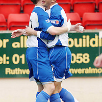 St Johnstone v Hamilton Accies....29.09.07<br /> Paul Sheerin celebrates his goal with Andy Jackson<br /> Picture by Graeme Hart.<br /> Copyright Perthshire Picture Agency<br /> Tel: 01738 623350  Mobile: 07990 594431