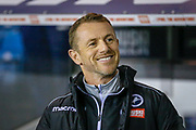 Millwall manager Gary Rowett smiling during the EFL Sky Bet Championship match between Millwall and Nottingham Forest at The Den, London, England on 6 December 2019.