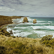 The Twelves Apostles, off the shore of Port Campbell National Park. The site, a collection of limestone stack, eroded,  is a popular attraction along the Great Ocean Road.