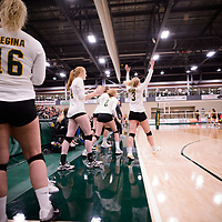 4th year outside hitter Leah Sywanyk (3) of the Regina Cougars in action during Women's Volleyball home game on November 3 at Centre for Kinesiology, Health and Sport. Credit: Arthur Ward/Arthur Images