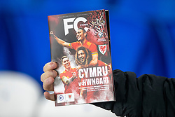 CARDIFF, WALES - Tuesday, November 19, 2019: Wales'  matchday programme during the final UEFA Euro 2020 Qualifying Group E match between Wales and Hungary at the Cardiff City Stadium. (Pic by Laura Malkin/Propaganda)