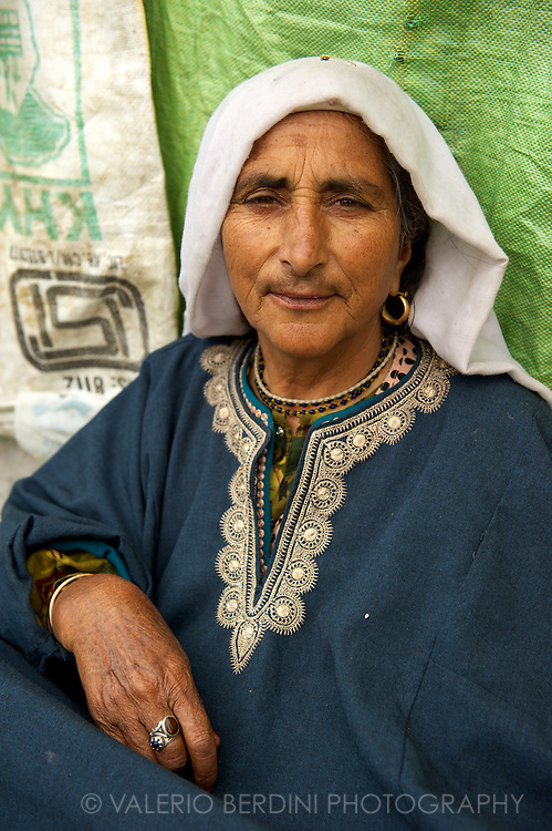 Srinagar inhabitant, selling dry fish at the local market. Srinagar. Kashmir. India