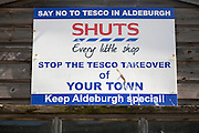 Poster sign protest against possible Tesco store in Aldeburgh, Suffolk, England