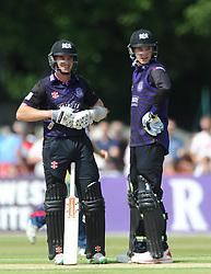 Michael Klinger of Gloucestershire (left) and Peter Handscomb of Gloucestershire - Photo mandatory by-line: Dougie Allward/JMP - Mobile: 07966 386802 - 12/07/2015 - SPORT - Cricket - Cheltenham - Cheltenham College - Natwest Blast T20