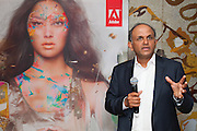 Adobe Function at The Park Hyatt, Sydney. Images include CEO Shantanu Narayen in a group shot and making a speech.