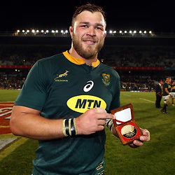 Duane Vermeulen of South Africa man of the match during the 2018 Castle Lager Incoming Series 2nd Test match between South Africa and England at the Toyota Stadium.Bloemfontein,South Africa. 16,06,2018 Photo by (Steve Haag JMP)