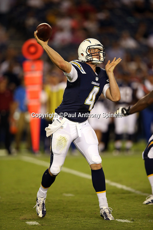 San Diego Chargers quarterback Brad Sorensen (4) throws a fourth quarter pass during the NFL week 4 preseason football game against the San Francisco 49ers on Thursday, Aug. 29, 2013 in San Diego. The 49ers won the game 41-6. ©Paul Anthony Spinelli
