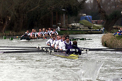 The Lent Bumps on the River Cambridge ..Mens 2nd division race, Kings College team (front right) and Girton College (back ground), March 2, 2000. Photo by Andrew Parsons / i-images..