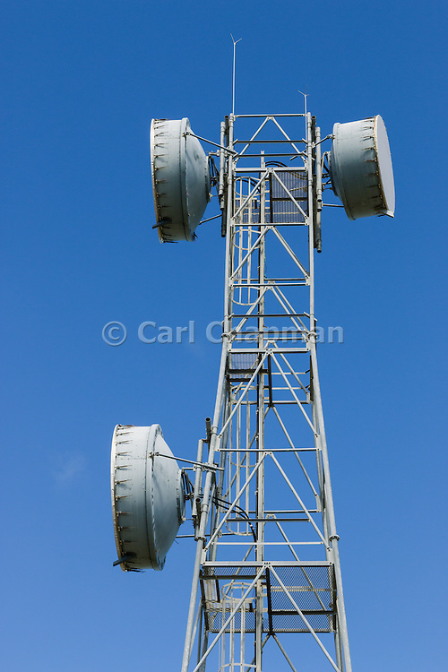 microwave parabolic dish antenna radio link on lattice tower in Gumlu, Queensland, Australia