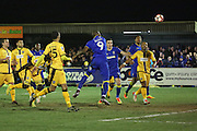 AFC Wimbledon striker Tom Elliott (9) scoring opening goal 1-0 during the The FA Cup third round replay match between AFC Wimbledon and Sutton United at the Cherry Red Records Stadium, Kingston, England on 17 January 2017. Photo by Matthew Redman.