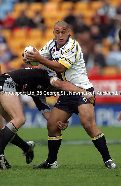 Cowboys player Paul Rauhihi during the NRL match between the North Queensland Cowboys and the New Zealand Warriors at Ericsson Stadium, Auckland, New Zealand, on Sunday 20 June, 2004. The Cowboys won the match in extra time, 28 - 26.<br />