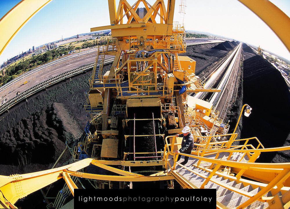 Fisheye view of Coal Stacker at Newcastle