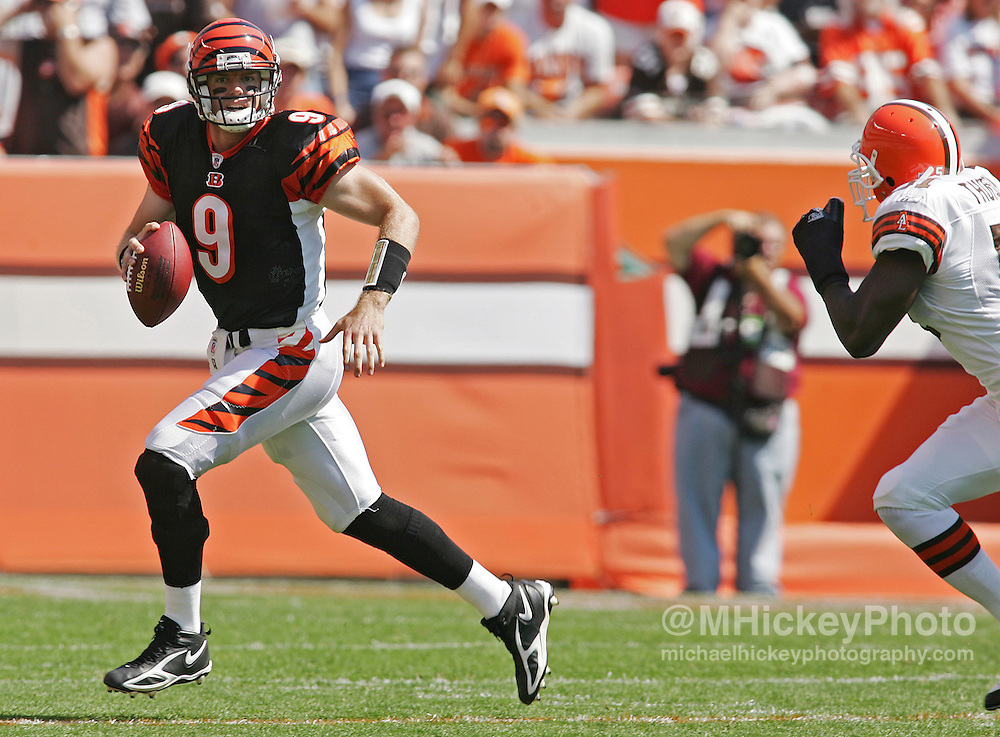 Cincinnati quarterback Carson Palmer scrambles out of the pocket during action against Cleveland at Browns Stadium Sept 11, 2005.