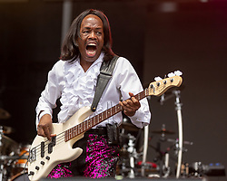 May 25, 2018 - Napa, California, U.S - VERDINE WHITE of Earth, Wind and Fire during BottleRock Music Festival at Napa Valley Expo in Napa, California (Credit Image: © Daniel DeSlover via ZUMA Wire)