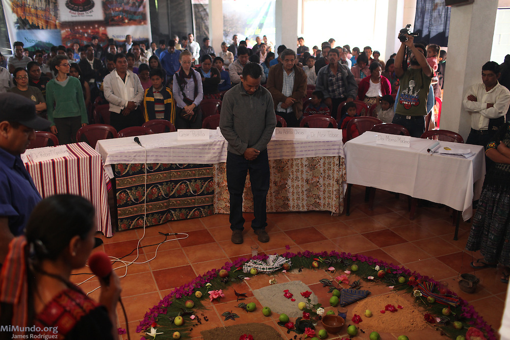 A spiritual invocation takes place before the second day's activities on the second day of the Peoples' International Health Tribunal. San Miguel Ixtahuacán, Guatemala. July 15, 2012.