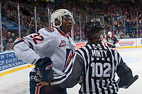 KELOWNA, CANADA - SEPTEMBER 22: Jermaine Loewen #32 of the Kamloops Blazers is directed away by linesman Dustin Minty on September 22, 2017 at Prospera Place in Kelowna, British Columbia, Canada.  (Photo by Marissa Baecker/Shoot the Breeze)  *** Local Caption ***