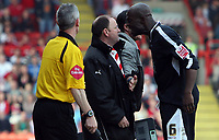 Photo: Rich Eaton.<br /> <br /> Bristol City v Swansea City. Coca Cola League 1. 07/04/2007.Gary Johnson manager of Bristol City and Swanseas Dennis Lawrence square up after Johnson enters the pitch to get the ball of Lawrence