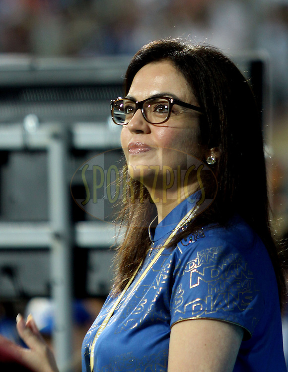 Nita Ambani Owner ofMumbai Indians during match 13 of the the Indian Premier League ( IPL ) Season 4 between the Mumbai Indians and the Kochi Tuskers Kerala held at the Wankhede Stadium, Mumbai, India on the 15th April 2011..Photo by Sandeep ShettyBCCI/SPORTZPICS.