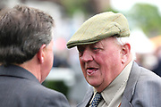 Trainer Mick Easterby (right) talking to his nephew Tim Easterby at the York Dante Meeting at York Racecourse, York, United Kingdom on 17 May 2018. Picture by Mick Atkins.