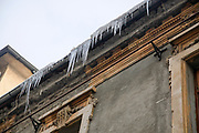 Ice crystals formed on a building in winter. Photographed in Bucharest, Romania