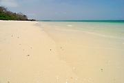 Bleached sands beach at Bolanos island. Las Perlas archipelago, Panama province, Panama, Central America.