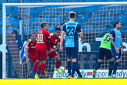 27.02.2016, Rewirpower Stadion, Bochum, GER, 2. FBL, VfL Bochum vs SV 1916 Sandhausen, 23. Runde, im Bild Torjubel nach dem Tor zum 2:2 durch Aziz Boehaddouz (#9, SV Sandhausen) mit Thomas Pledl (#30, SV Sandhausen) // during the 2nd German Bundesliga 23th round match between VfL Bochum and SV 1916 Sandhausen at the Rewirpower Stadion in Bochum, Germany on 2016/02/27. EXPA Pictures © 2016, PhotoCredit: EXPA/ Eibner-Pressefoto/ Deutzmann<br /> <br /> *****ATTENTION - OUT of GER*****