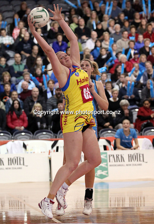 Caitlin Thwaites controls the ball for the Pulse.<br /> ANZ Championship - Steel v Pulse, 28 May 2012, The Edgar Centre, Dunedin, New Zealand.<br /> Photo: Rob Jefferies / photosport.co.nz