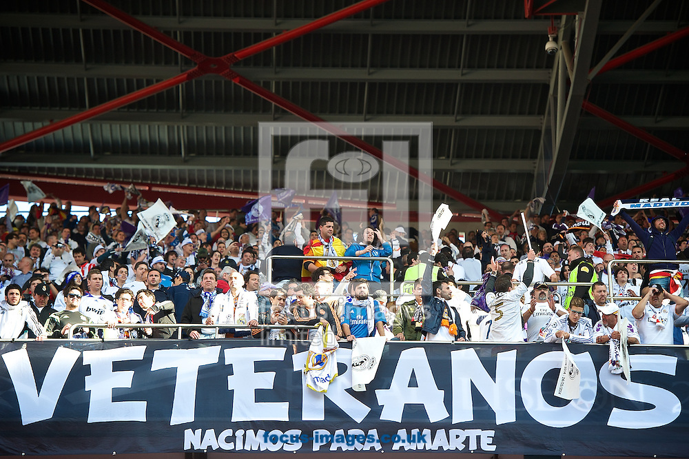 General view of the stadium showing Real Madrid fans pictured ahead of the UEFA Champions League Final at Est&aacute;dio da Luz, Lisbon<br /> Picture by Ian Wadkins/Focus Images Ltd +44 7877 568959<br /> 24/05/2014