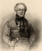 David Stewart of Garth (1772-1829) Scottish soldier and author.  Entered the 42nd Highlanders in 1787. Badly wounded at the Battle of Alexandria (Aboukir) in 1801 when the British defeated the French. Created Major-General in 1825. When he died he was serving as Governor of St Lucia.  Author of 'Sketches ...of the Highlanders of Scotland: with Details of the Military Service of the Highland Regiments'  (1822). Engraving from 'A Biographical Dictionary of Eminent Scotsmen' by Thomas Thomson (1870).