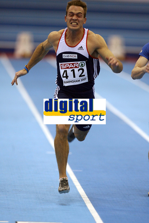 Photo: Rich Eaton.<br /> <br /> EAA European Athletics Indoor Championships, Birmingham 2007. 03/03/2007. Martin Rypdal of Norway competes in the mens 60m