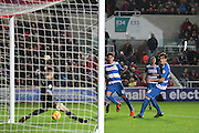 Queens Park Rangers goalkeeper Rob Green saves Bristol City forward Jonathan Kodjia's attempt on goal during the Sky Bet Championship match between Bristol City and Queens Park Rangers at Ashton Gate, Bristol, England on 19 December 2015. Photo by Jemma Phillips.