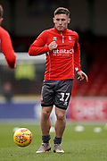 Shay McCartan of Lincoln City warms up during the EFL Sky Bet League 2 match between Swindon Town and Lincoln City at the County Ground, Swindon, England on 12 January 2019.