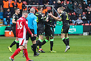 Forest Green Rovers Reece Brown(10) scores a goal 1-1 and celebrates during the EFL Sky Bet League 2 match between Crewe Alexandra and Forest Green Rovers at Alexandra Stadium, Crewe, England on 27 April 2019.