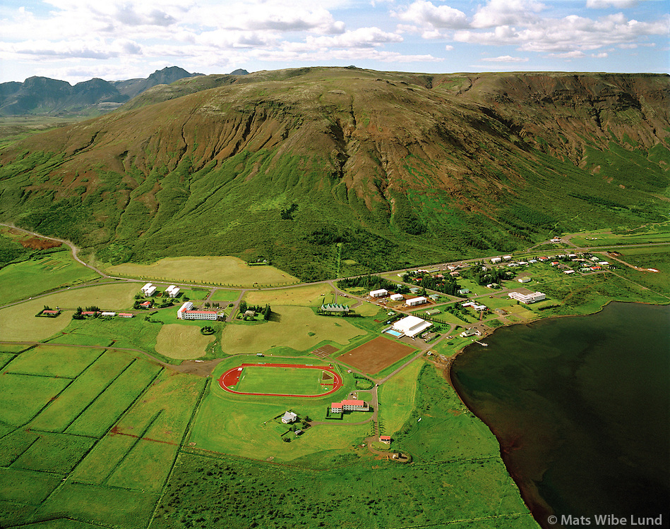 Laugarvatn, Laugarvatnsfjall, Laugardalshreppur.Laugarvatn school and touristcenter, Laugardalshreppur