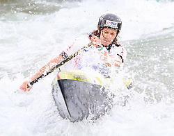 27.06.2015, Verbund Wasserarena, Wien, AUT, ICF, Kanu Wildwasser Weltmeisterschaft 2015, C1 women, im Bild Claire Haab (FRA) // during the final run in the women's C1 class of the ICF Wildwater Canoeing Sprint World Championships at the Verbund Wasserarena in Wien, Austria on 2015/06/27. EXPA Pictures © 2014, PhotoCredit: EXPA/ Sebastian Pucher