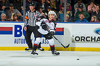 KELOWNA, BC - OCTOBER 03:  Milos Roman #40 of the Vancouver Giants passes the puck against the Kelowna Rockets at Prospera Place on October 3, 2018 in Kelowna, Canada. (Photo by Marissa Baecker/Getty Images)