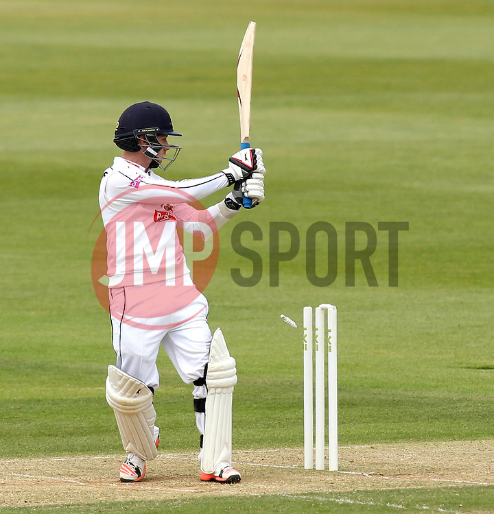 Hampshire's Adam Wheater is bowled by Somerset's Craig Overton - Photo mandatory by-line: Robbie Stephenson/JMP - Mobile: 07966 386802 - 23/06/2015 - SPORT - Cricket - Southampton - The Ageas Bowl - Hampshire v Somerset - County Championship Division One