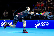 Andy Murray stretches to reach the ball during the Andy Murray Live event at SSE Hydro, Glasgow, Scotland on 7 November 2017. Photo by Craig Doyle.