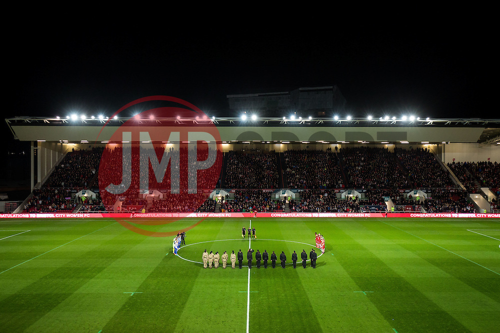 A minutes silence is held in advance of Rememberance Day in memory of fallen soldiers - Rogan Thomson/JMP - 05/11/2016 - FOOTBALL - Ashton Gate Stadium - Bristol, England - Bristol City v Brighton & Hove Albion - Sky Bet Championship.