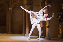 © Licensed to London News Pictures. 24/07/2013. English National Ballet's A Tribute To Rudolf Nureyev at the London Coliseum. Benois de la Danse winner Vadim Muntagirov performs in Song of a Wayfarer and Raymonda, Tamara Rojo in Raymonda and with Fabian Reimair in Petrushka. Picture shows Daria Klimentova and Vadim Muntagirov in Raymonda. Photo credit: Tony Nandi/LNP