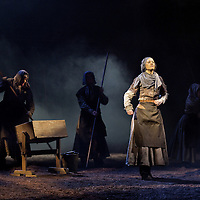 Picture shows : Cath Whitefield as Tottie.<br /> Bondagers <br /> By Sue Glover<br /> Directed by Lu Kemp<br /> &quot;Redd up the stables, muck out the byre, plant the tatties, howk the tatties, clamp the tatties... Shear, stook, striddle, stack. Women's work.&quot;<br /> A true classic of modern Scottish Theatre, and a haunting evocation of a lost way of life, Sue Glover&rsquo;s lyrical play with music and song follows six women land workers as they graft and dance their way through a year on a 19th Century Borders farm.<br /> Every ploughman had to provide a woman (a bondager) to work on the farm. If his wife was too busy with family, he hired a woman to work the fields and lodge in his home. Following these women&nbsp;through the passing of the seasons, we feel the rhythm of the land and the harshness, humour, hope and tragedy of those who worked upon it.&nbsp;<br /> Picture : Drew Farrell<br /> Tel : 07721 -735041<br /> www.drewfarrell.com<br /> <br /> <br /> For Further information please contact Michelle Mangan Press and PR Manager, Royal Lyceum Theatre Edinburgh <br /> Main Line: 0131 248 4800| Direct Line: 0131 248 4822<br /> <br /> Image is free to use in connection of the promotion of 'Bondagers' and  The Lyceum Theatre Permissions for ALL other uses needs to be sought and payment make be required.<br /> <br /> Opens at The Royal Lyceum Theatre, Edinburgh<br /> 22 October to 15 November 2014<br /> CAST <br /> Cath Whitefield - Tottie <br /> Pauline Lockhart - Maggie <br /> Wendy Seager - Sara <br /> Jayd Johnson - Liza <br /> Charlene Boyd - Jenny <br /> Nora Wardell - Ellen <br /> CREATIVE TEAM <br /> Director   Lu Kemp <br /> Designer Jamie Vartan <br /> LX Designer   Simon Wilkinson <br /> Composer/Sound Designer - Michael John McCarthy<br /> Voice - Ros Steen<br /> Lu Kemp has recently has directed Don Quixote at &Ograve;ran M&oacute;r, and Arabian Nights at the Tricycle Theatre. We are delighted to welcome her to The Lyceum to direct this wonderful en