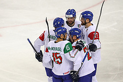 Players of Italy celebrate during Ice Hockey match between National Teams of Italy and Slovenia in Round #5 of 2018 IIHF Ice Hockey World Championship Division I Group A, on April 28, 2018 in Arena Laszla Pappa, Budapest, Hungary. Photo by David Balogh / Sportida