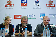 (L) translator and (2L) Christer Samuelsson (Chairman of Tall Ships Races Europe Limited) and (C) Piotr Krzystek (Major of Szczecin) while press conference during The Tall Ships Races 2013 on Odra River in Szczecin, Poland.<br /> <br /> Poland, Szczecin, August 02, 2013<br /> <br /> Picture also available in RAW (NEF) or TIFF format on special request.<br /> <br /> For editorial use only. Any commercial or promotional use requires permission.<br /> Mandatory credit:<br /> Photo by © Adam Nurkiewicz / Mediasport