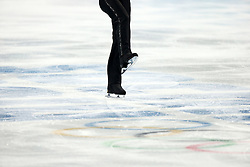 Detail during his short program during the men's figure skating competition at the XXII Olympic Winter Games in Sochi. Bein, Beine, leg, legs, Eisflaeche,