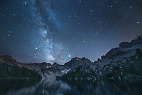 Milky Way over Baron Lake Sawtooth Mountains Idaho