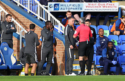 Peterborough United Manager Darren Ferguson speaks to Match Referee S Stockbridge - Mandatory by-line: Joe Dent/JMP - 28/09/2019 - FOOTBALL - Weston Homes Stadium - Peterborough, England - Peterborough United v AFC Wimbledon - Sky Bet League One