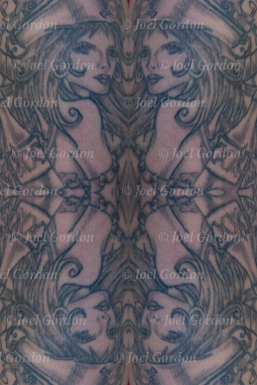Mirrored quad of close up of  Art Nouveau tattoo.<br /> <br /> Body art or tattoos has entered the mainstream it is known longer considered a weird kind of subculture.<br /> <br /> Tattoos are no longer just a male thing, young women are just as likely to get a tattoo as males.<br /> <br /> &quot;According to a 2006 Pew survey, 40% of Americans between the ages of 26 and 40 have been tattooed&quot;.