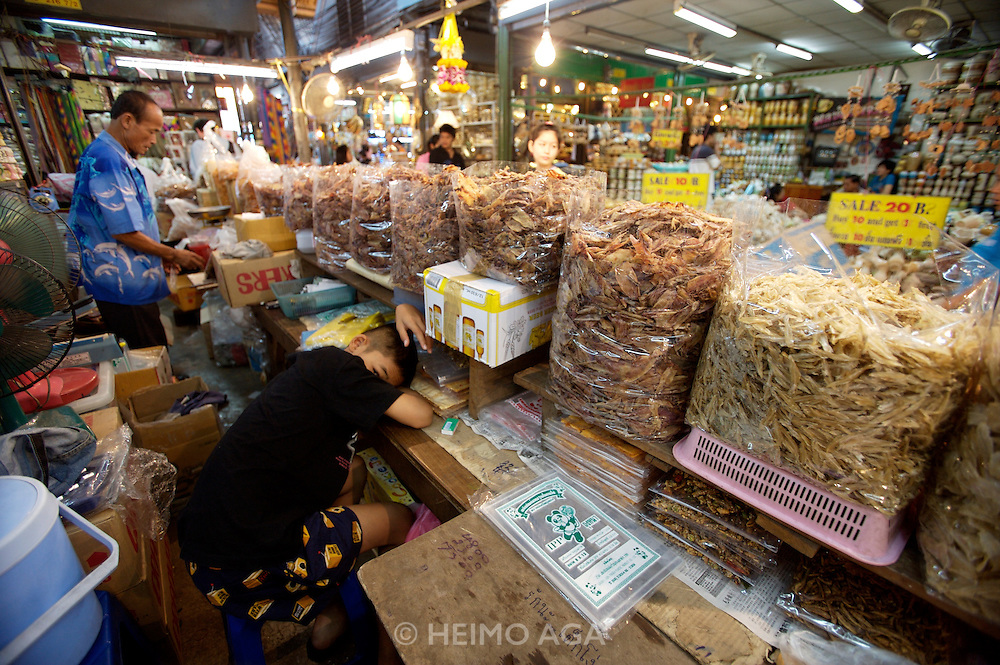 Chatuchak Sunday Market. Dried seafood shop.