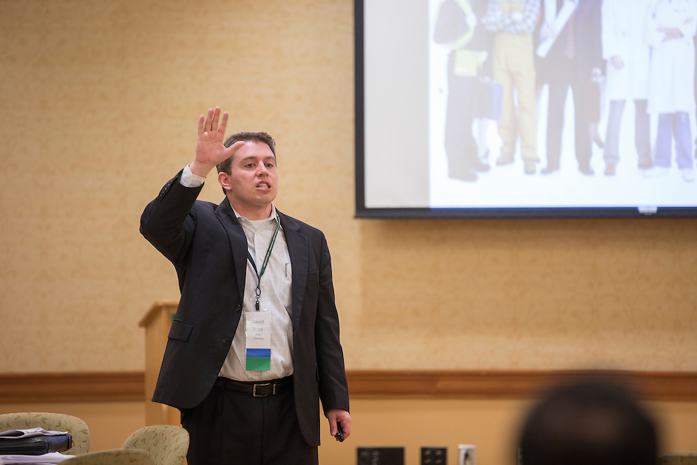 David Boss, an assistant professor of strategy and entrepreneurship in Ohio University's College of Business, talks during a breakout session as part of the College of Business Center for Leadership Event in Baker Center on April 24, 2016.